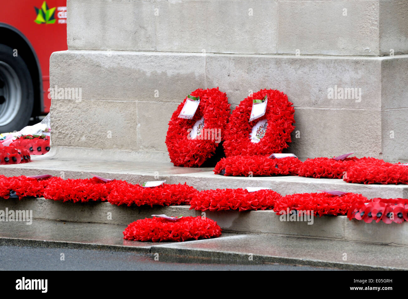 London, England, UK. Wreaths laid at the base of the Cenotaph in Whitehall - after Anzac Day 2014 - Stock Image
