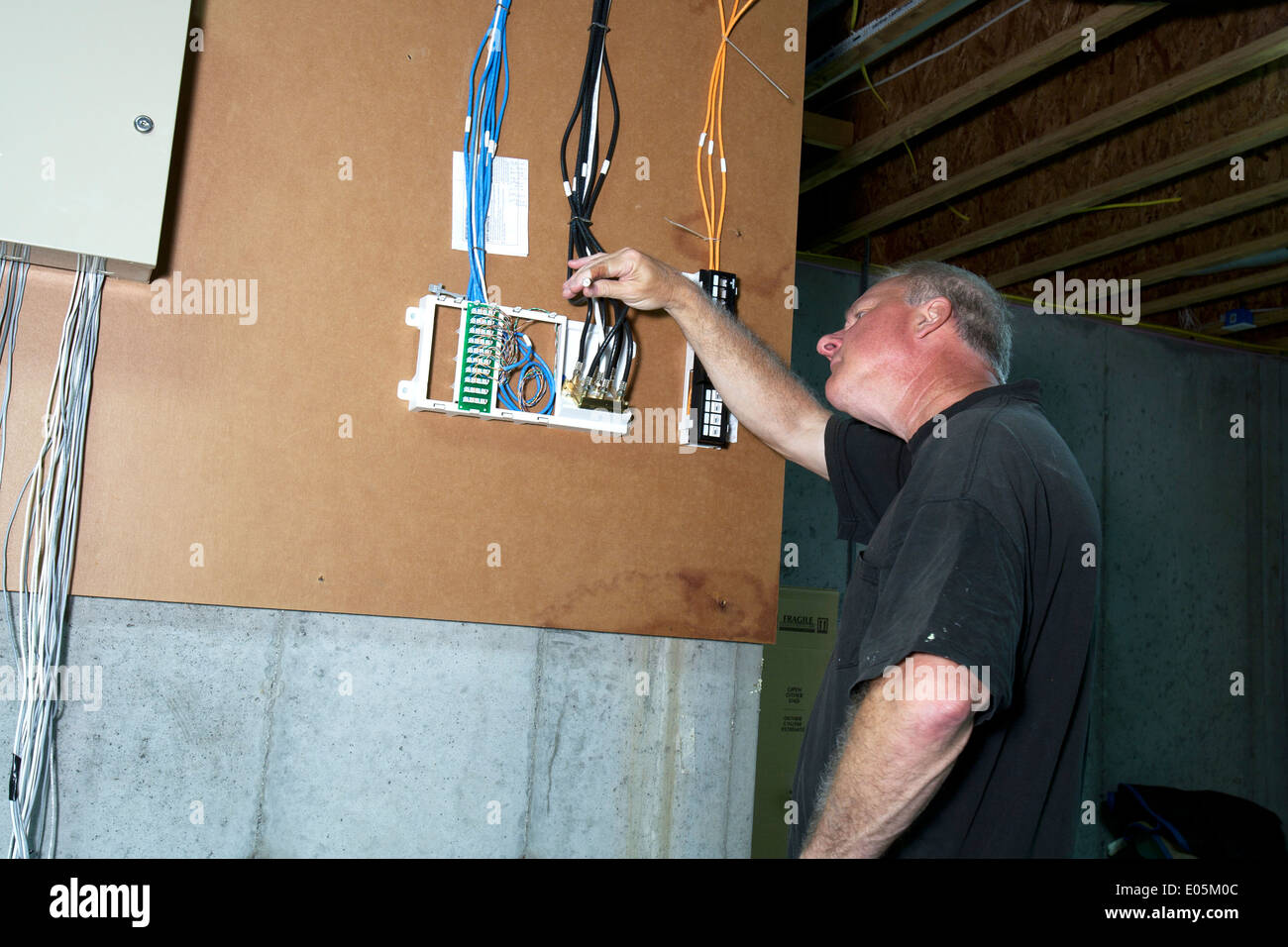 cable wires house stock photos cable wires house stock images alamy rh alamy com Wiring Basement Wall Wiring a Dryer in the Basement