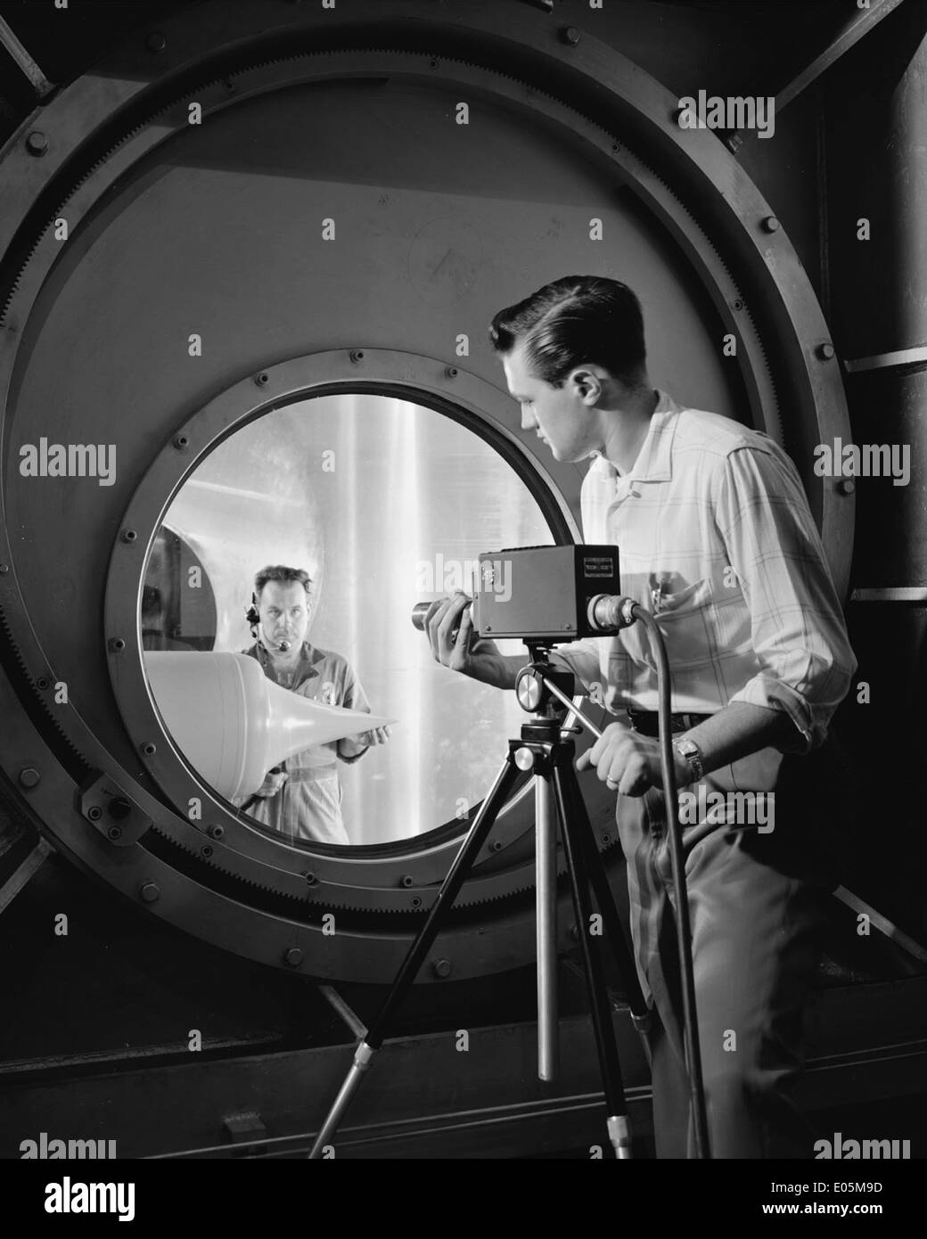 Technician setting up RCA Television Camera - Stock Image