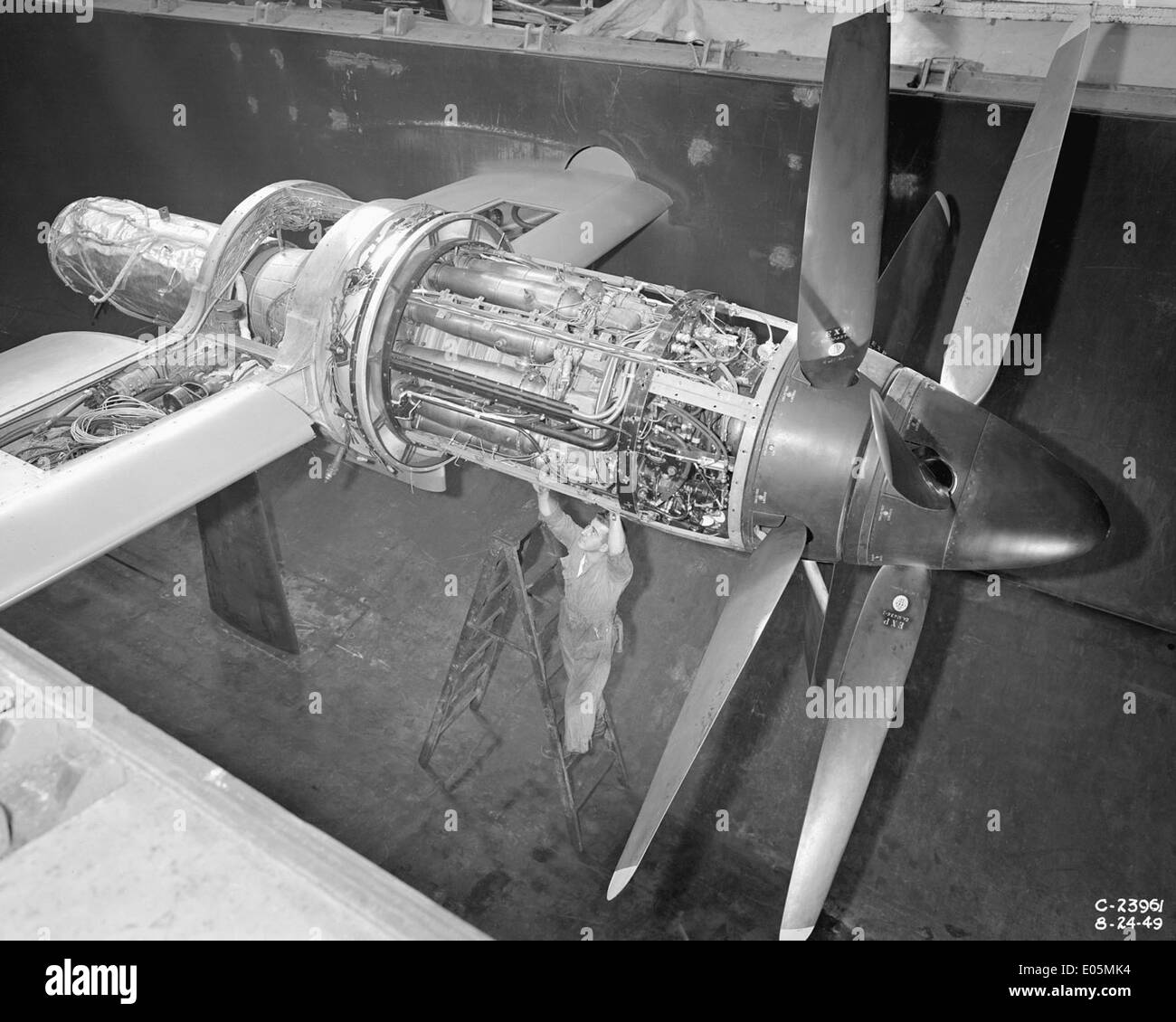 Python Engine Installed in Altitude Wind Tunnel - Stock Image
