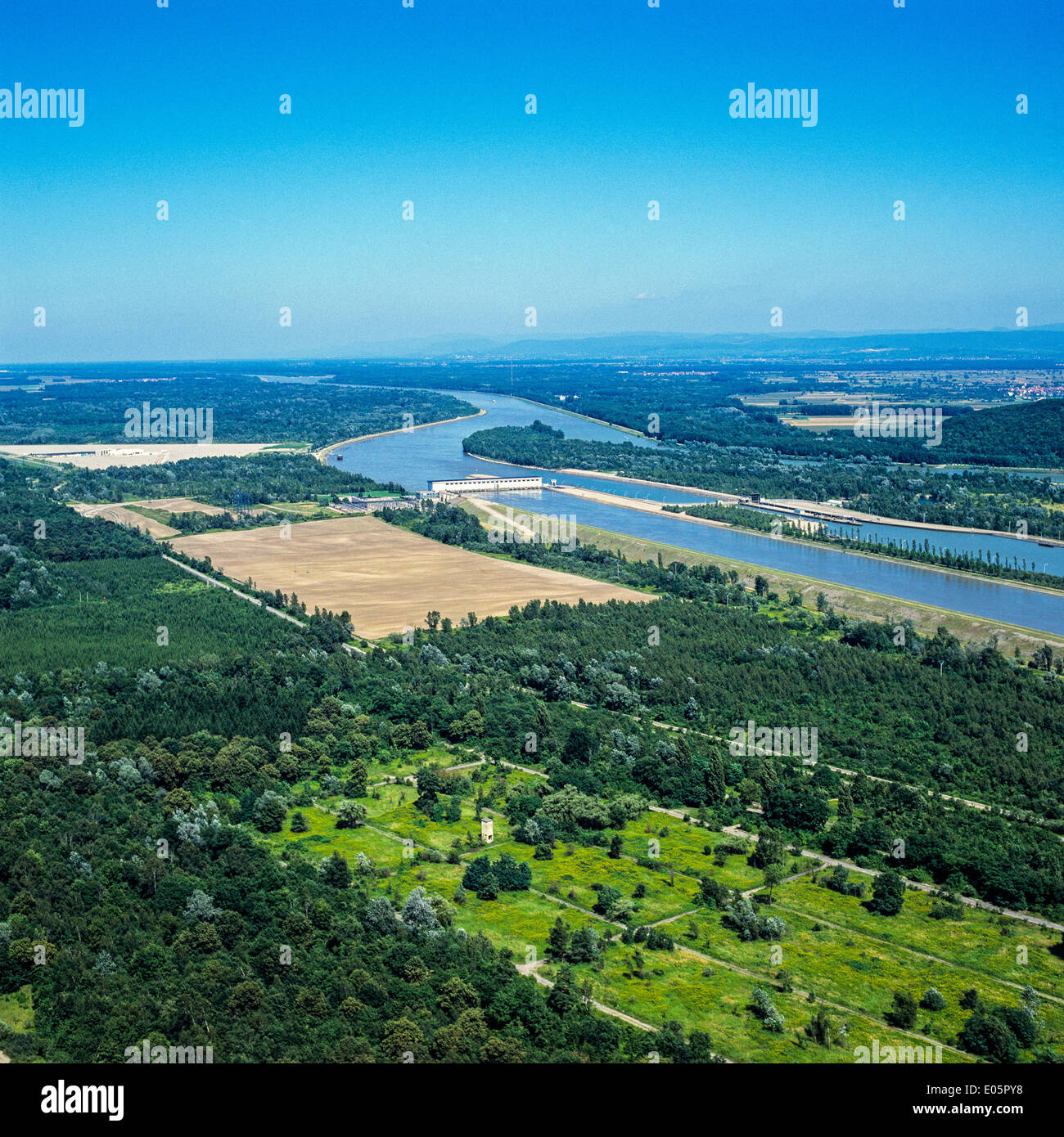 Aerial view of Marckolsheim hydroelectric power station and dam on Rhine river Alsace France Europe - Stock Image