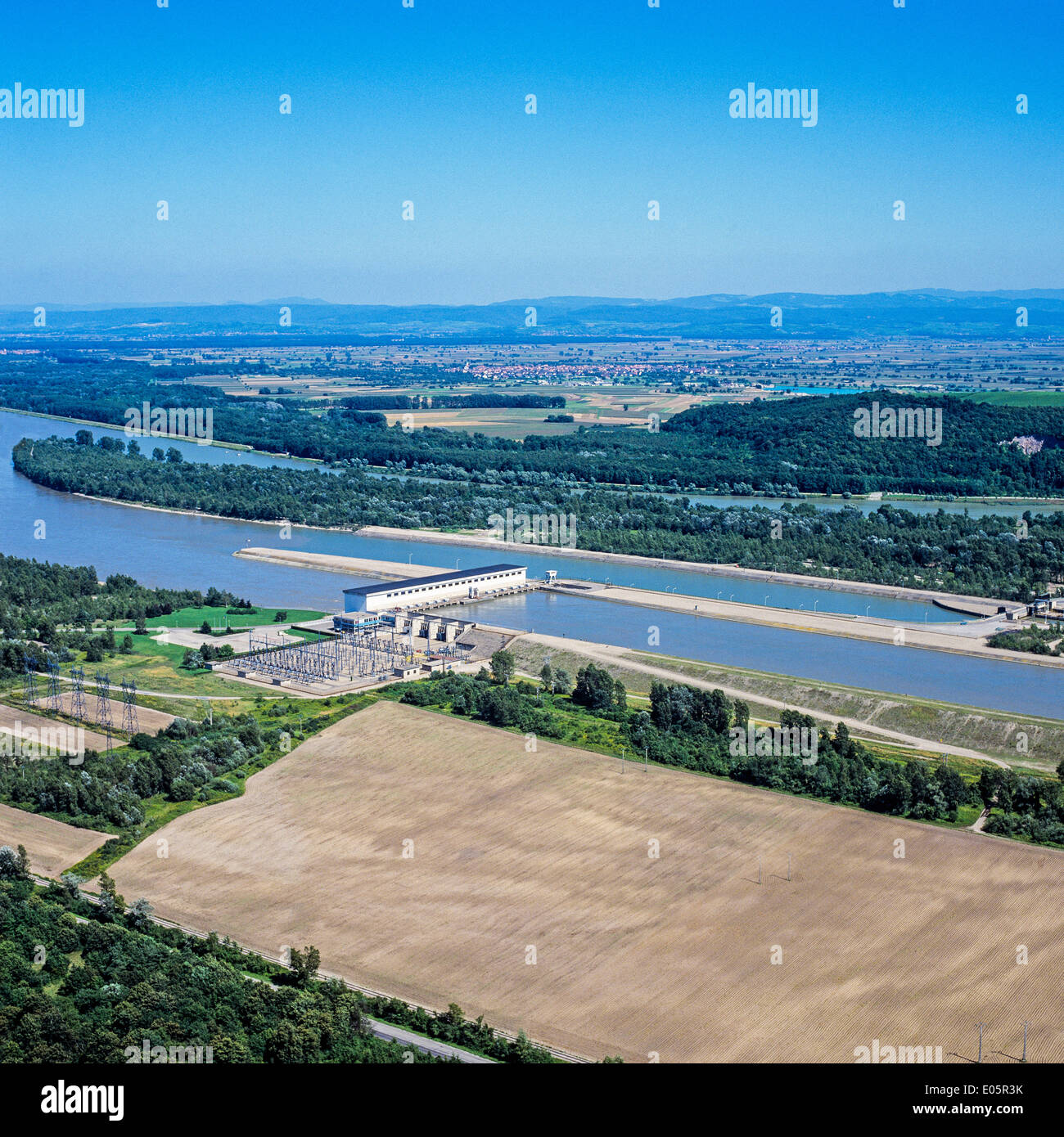 Aerial view of Marckolsheim hydroelectric power station and dam on Rhine river Alsace France - Stock Image
