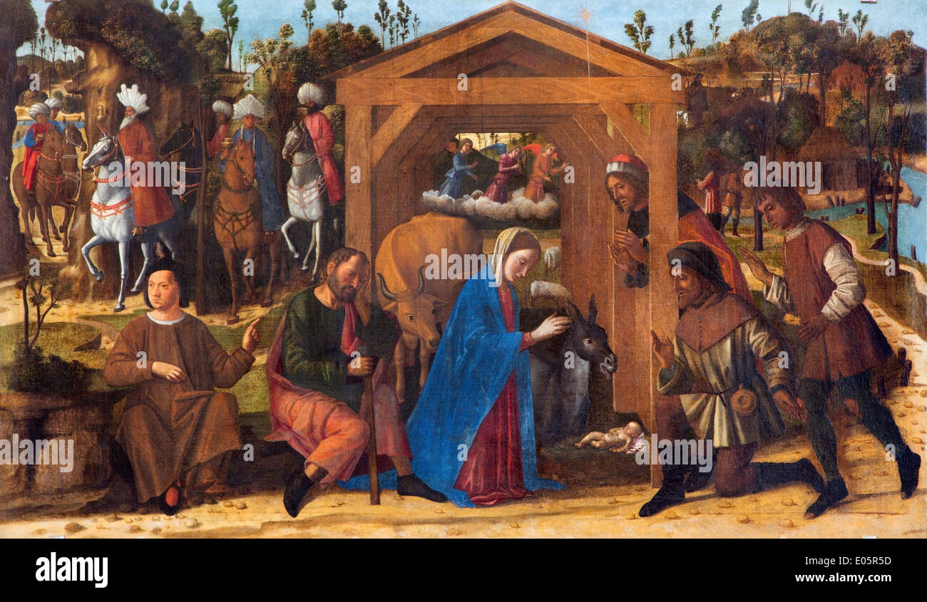 Venice - Adoration of the Shepherds paint by Giovanni Manuseti in church of San Martino of Saint Martin on Burano island. - Stock Image