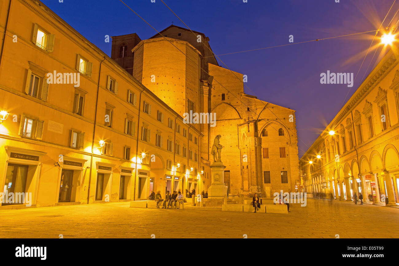 BOLOGNA, ITALY - MARCH 15, 2014: Piazza Galvani square with the Dom or San Petronio church in Sunday morning. Stock Photo