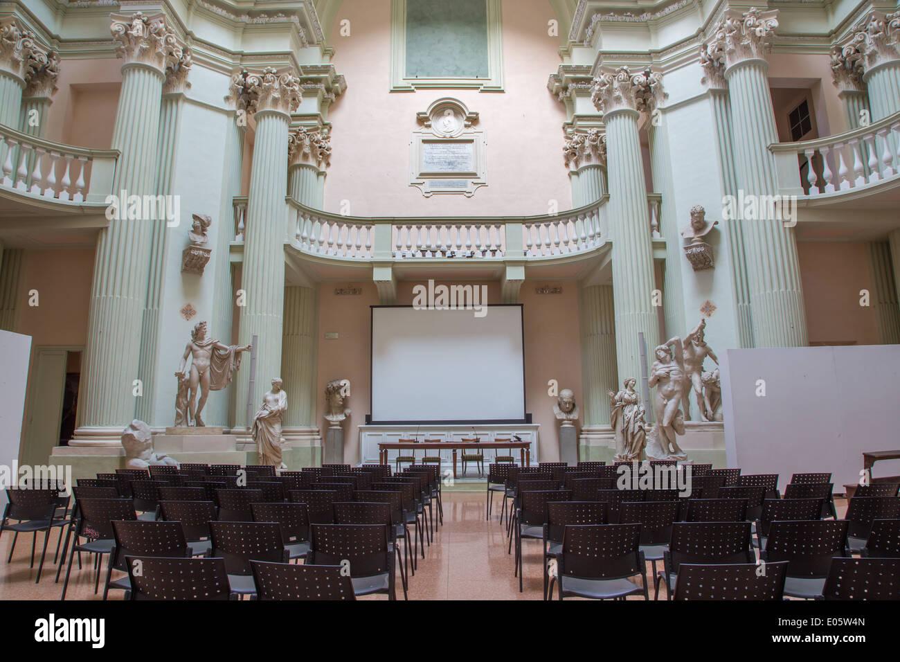 BOLOGNA, ITALY - MARCH 17, 2014: Aula of 'Accademia di Belle Arti' in Bologna - Stock Image