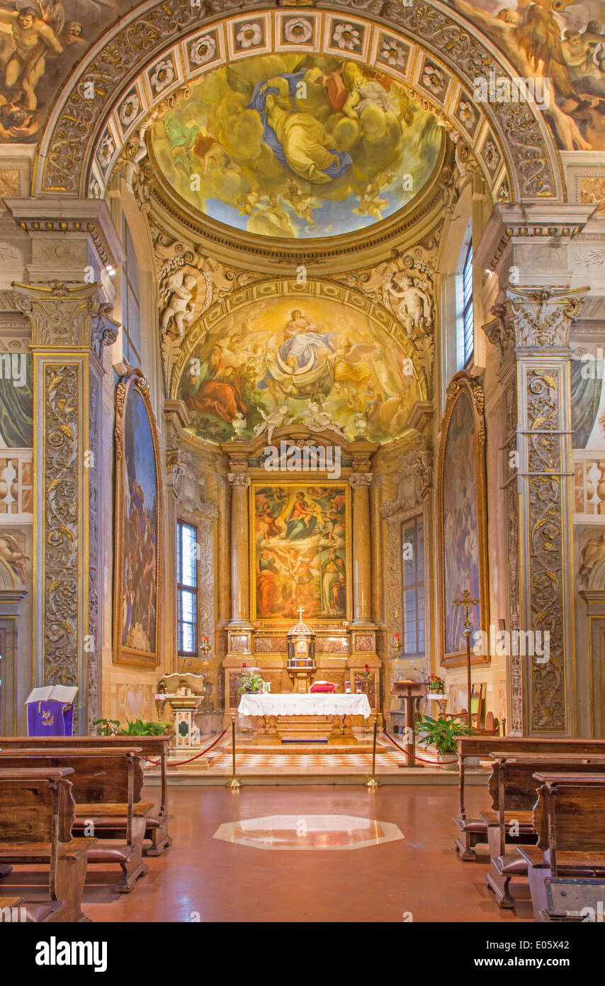 Bologna - Presbytery and main altar of church San Michele in Bosco - Stock Image