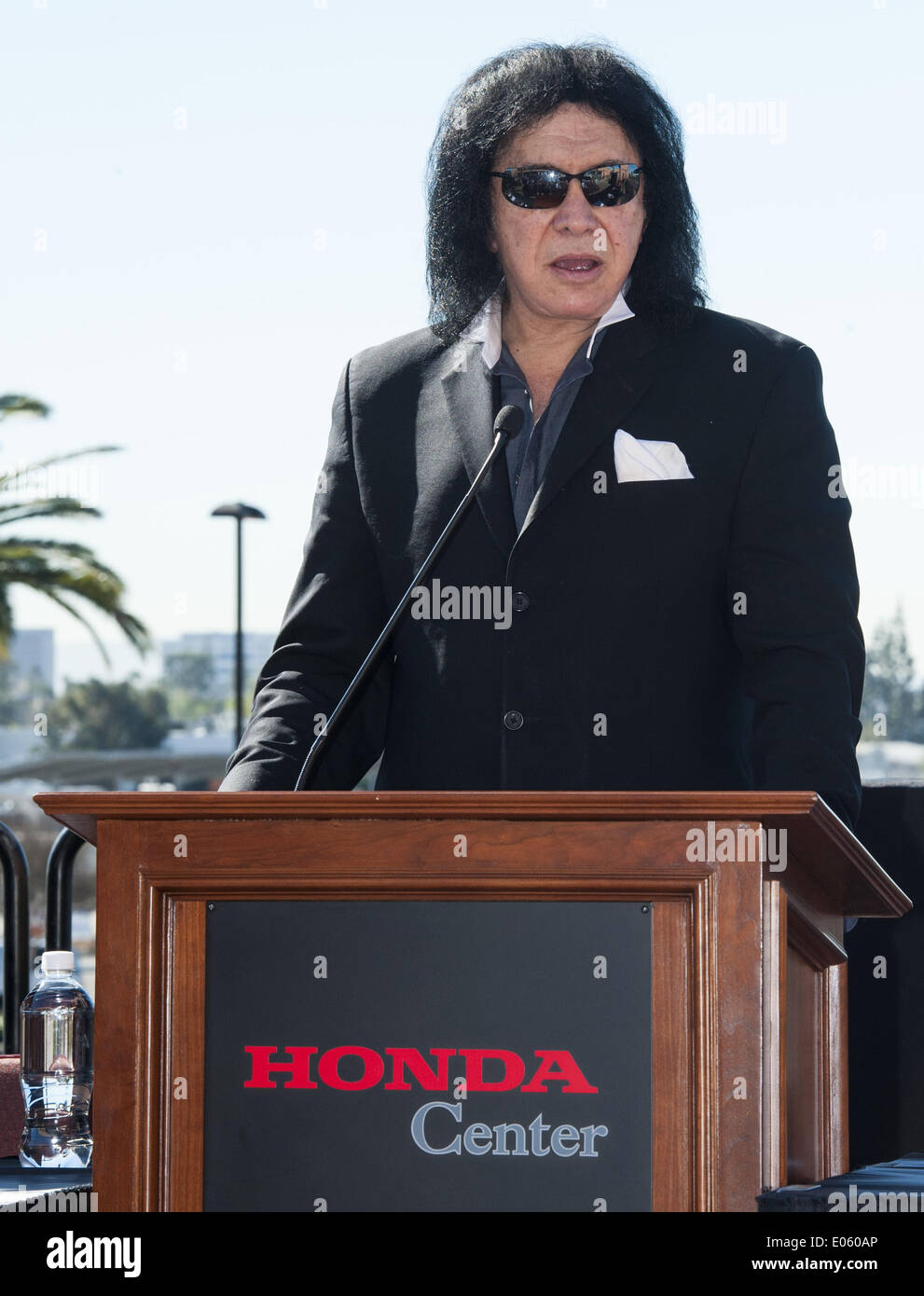 March 10, 2014 - Anaheim, California, U.S - GENE SIMMONS talks about the new LA Kiss Arena Football team on Monday morning at Honda Center..  The newly formed LA Kiss, Arena Football's newest team, held their first media event at The Honda Center on Monday morning, March 10, 2014, in Anaheim.  The LA Kiss, named after famed rock and roll band, Kiss, boasts two members of the band as owners, Gene Simmons and Paul Stanley.  The co-owners announced a free Kiss concert for all season ticket holders as part of a $99 dollar package. (Credit Image: © David Bro/ZUMAPRESS.com) - Stock Image