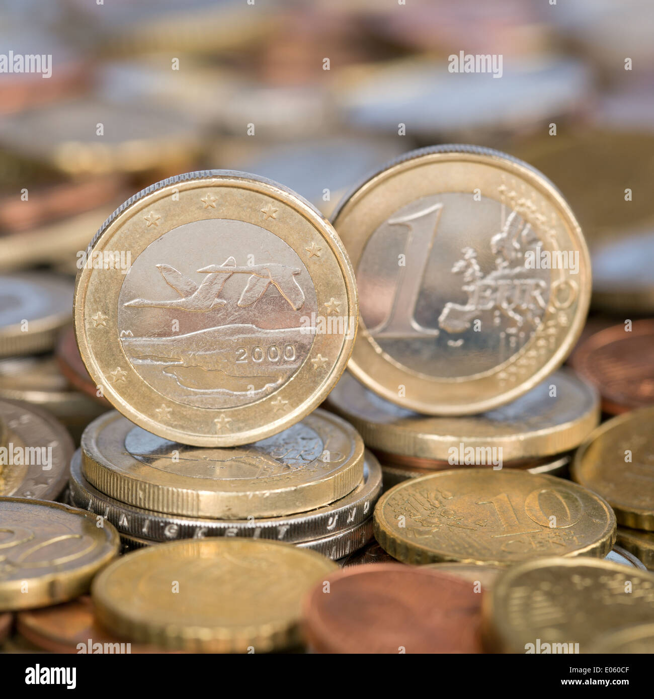 A one Euro coin from the European Union currency member country Finland - Stock Image