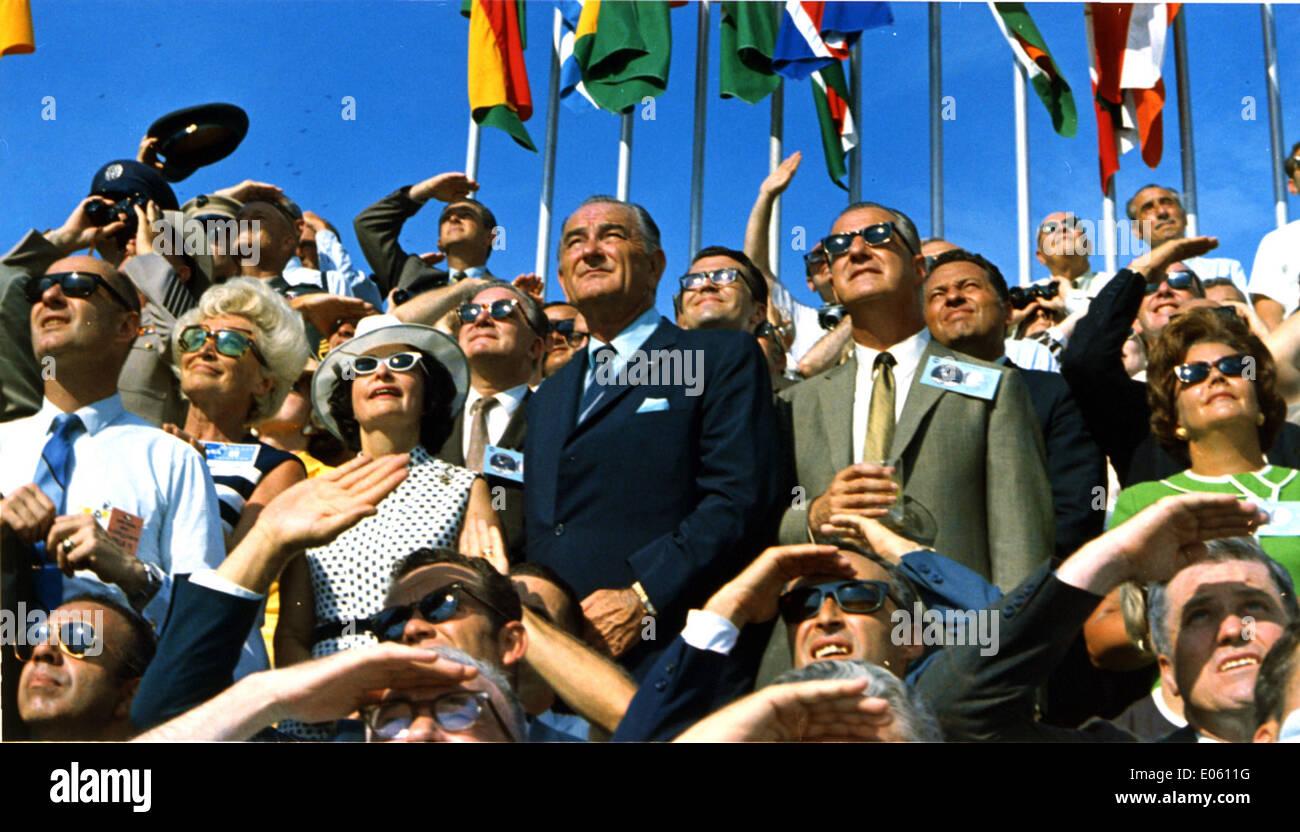 Spiro Agnew and Lyndon Johnson Watch the Apollo 11 Liftoff - Stock Image