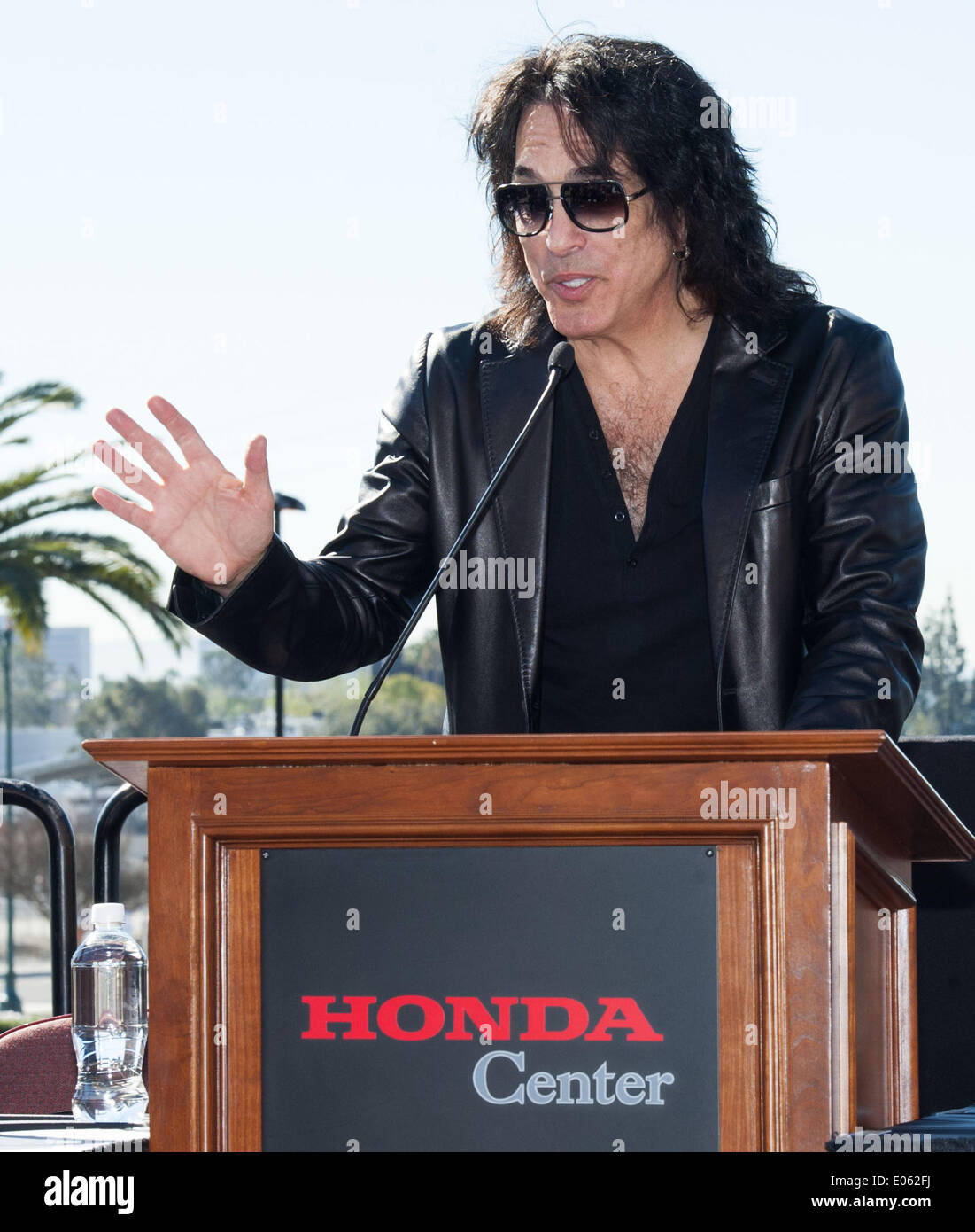 Anaheim, California, USA. 10th Mar, 2014. PAUL STANLEY talks about the new LA Kiss Arena Football team on Monday morning at Honda Center. The newly formed LA Kiss, Arena Football's newest team, held their first media event at The Honda Center on Monday morning, March 10, 2014, in Anaheim. The LA Kiss, named after famed rock and roll band, Kiss, boasts two members of the band as owners, Gene Simmons and Paul Stanley. The co-owners announced a free Kiss concert for all season ticket holders as part of a $99 dollar package. © David Bro/ZUMAPRESS.com/Alamy Live News - Stock Image