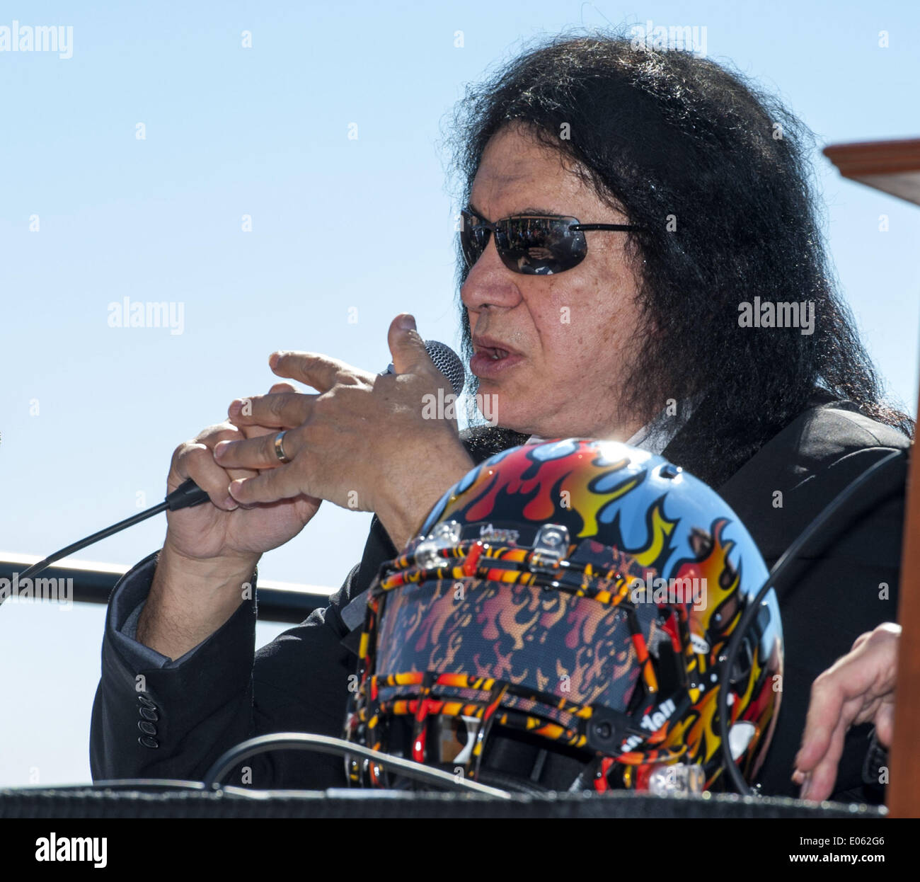 Anaheim, California, USA. 10th Mar, 2014. GENE SIMMONS talks about the new LA Kiss Arena Football team on Monday morning at Honda Center. The newly formed LA Kiss, Arena Football's newest team, held their first media event at The Honda Center on Monday morning, March 10, 2014, in Anaheim. The LA Kiss, named after famed rock and roll band, Kiss, boasts two members of the band as owners, Gene Simmons and Paul Stanley. The co-owners announced a free Kiss concert for all season ticket holders as part of a $99 dollar package. © David Bro/ZUMAPRESS.com/Alamy Live News - Stock Image