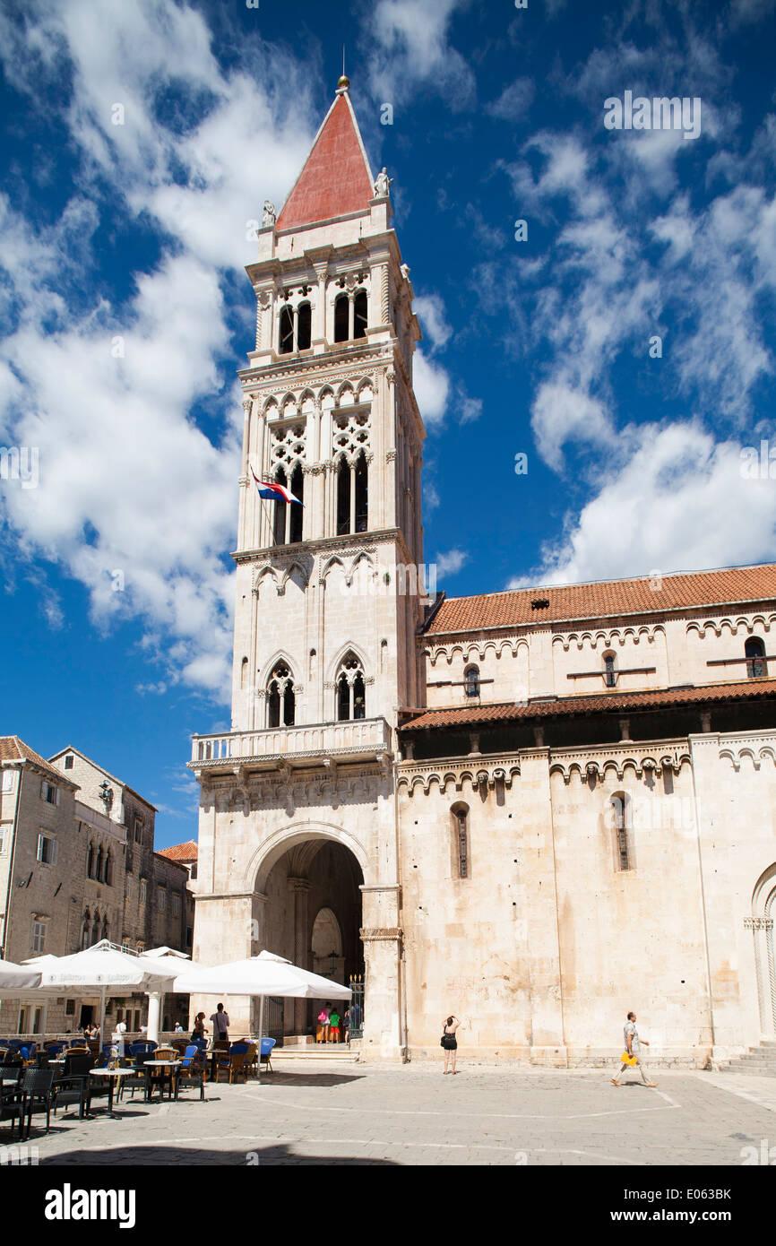 cathedral of st lawrence, trogir, dalmatia, croatia, europe - Stock Image