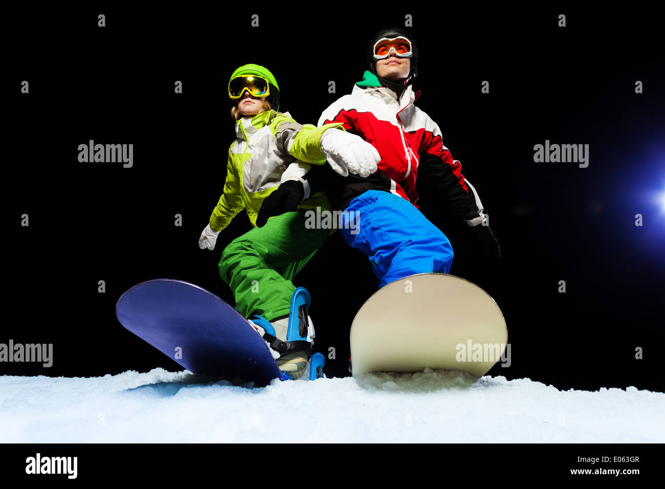 e5f7696b3526 Two Snowboarders Standing Snow Stock Photos   Two Snowboarders ...