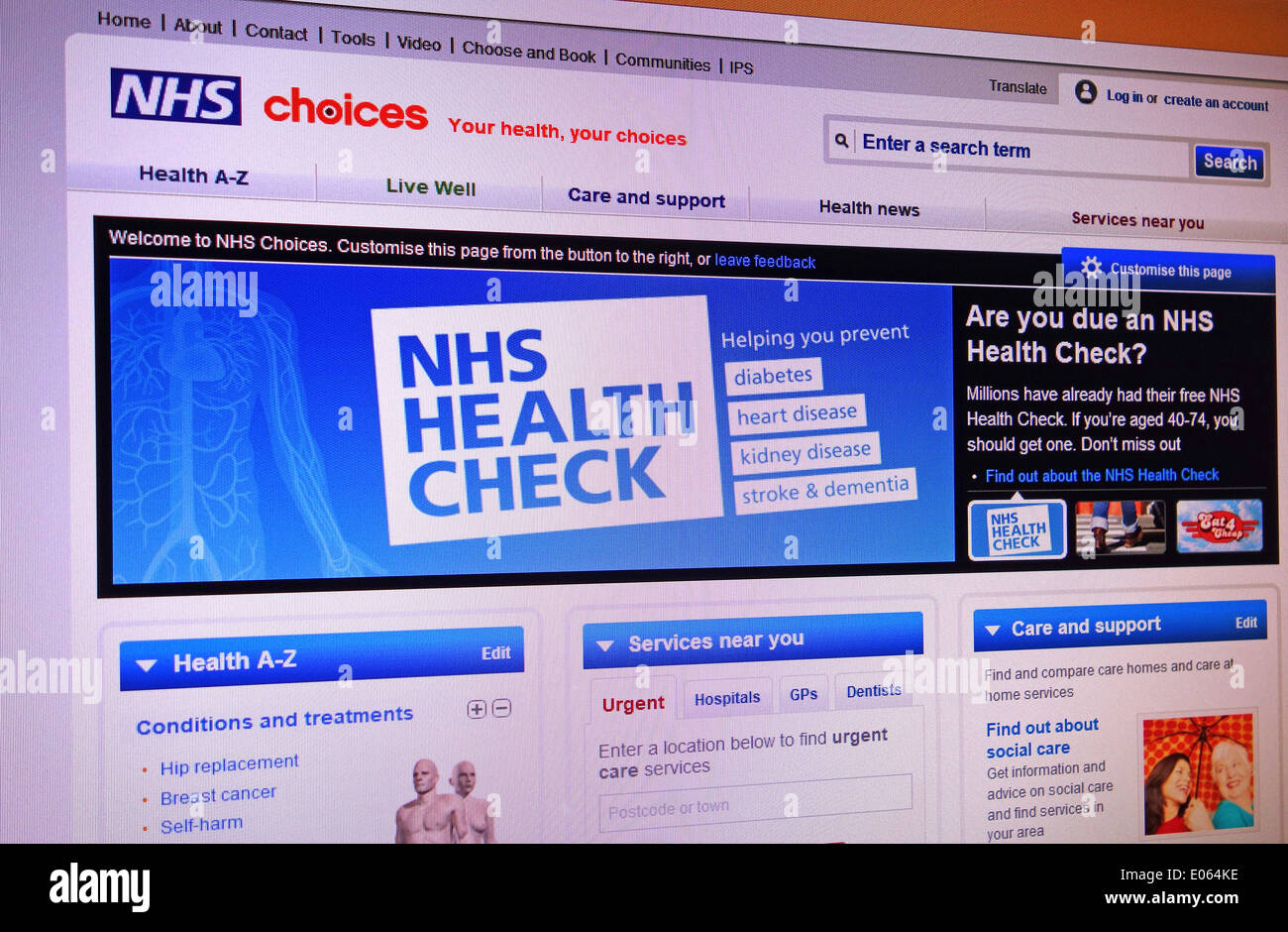 NHS choices website - Stock Image