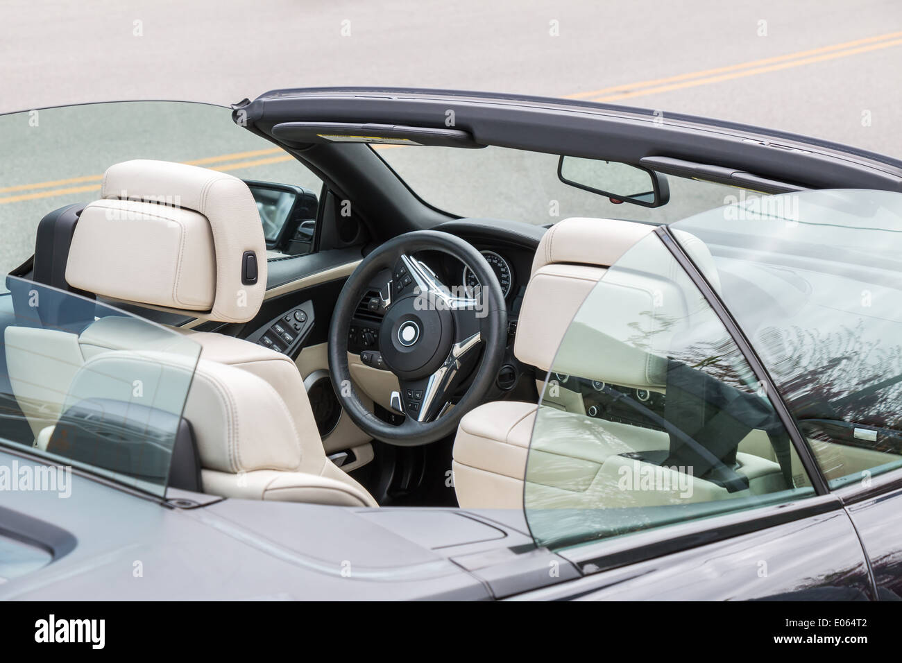interior and dashboard of a modern convertible car. - Stock Image