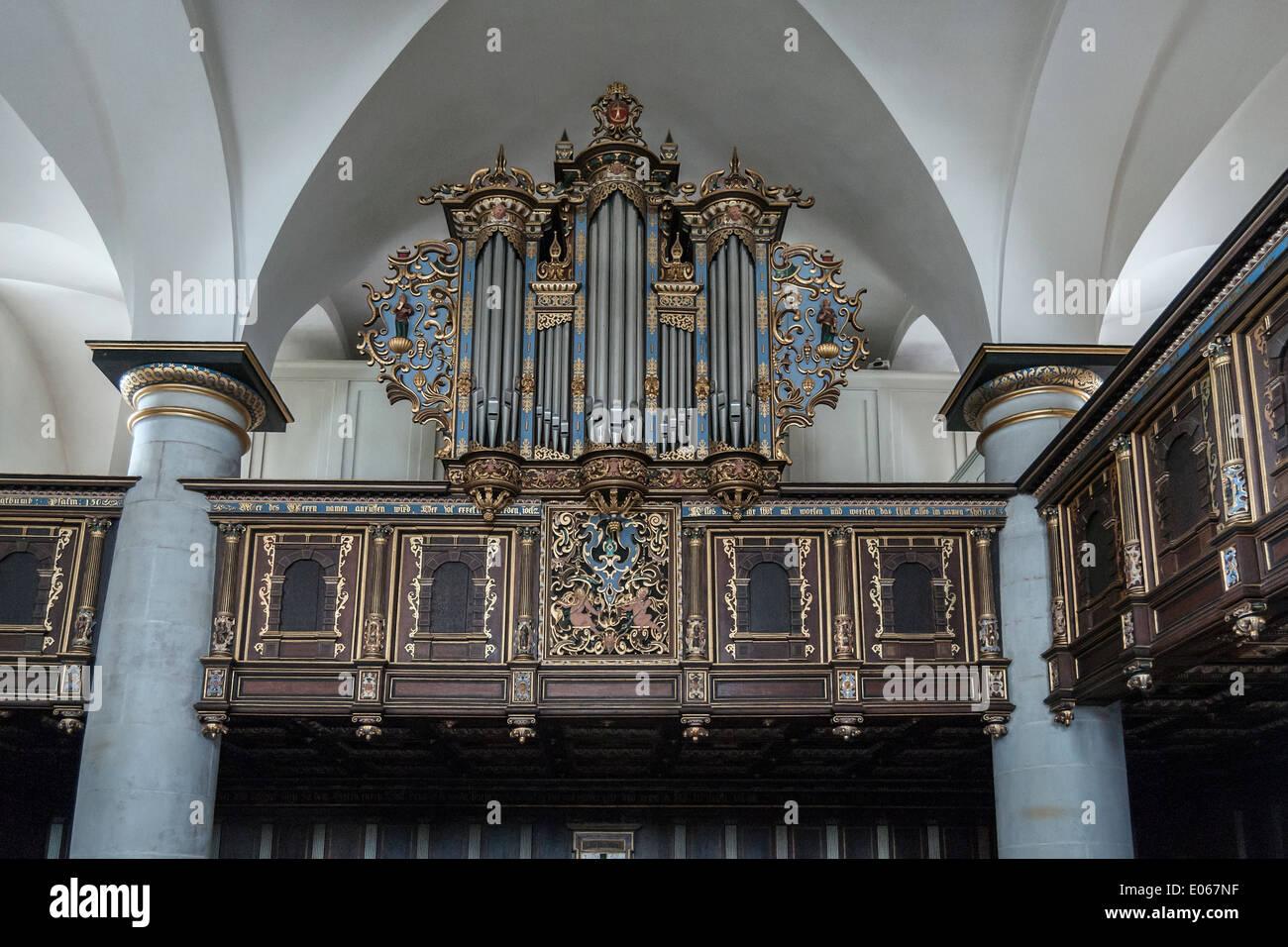 Organ pipes, Kronborg Castle chapel,  Helsingnor, Denmark - Stock Image