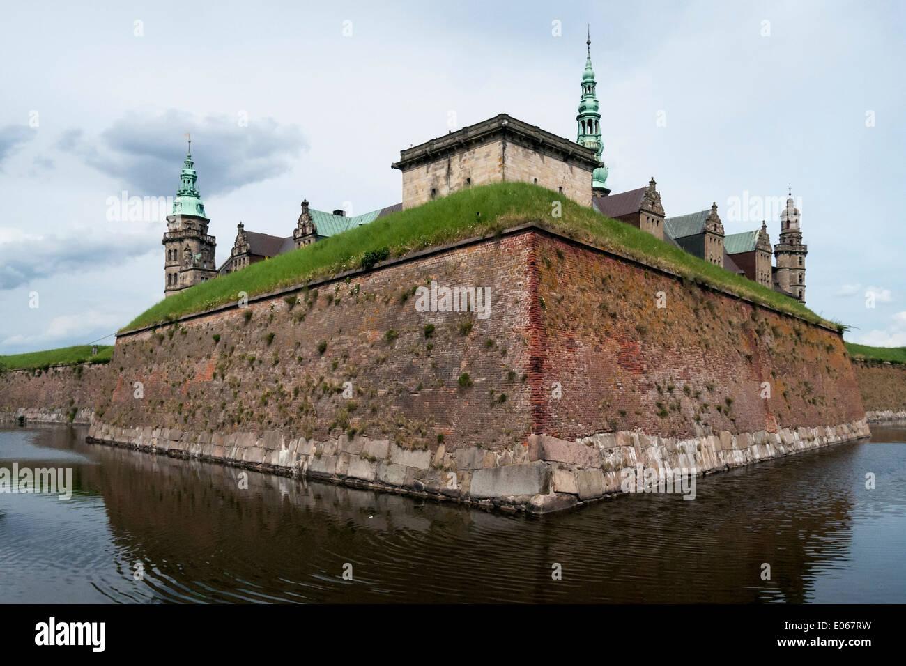 Kronborg Castle (Hamlet's castle) seen from the moat, Helsingnor, Denmark - Stock Image