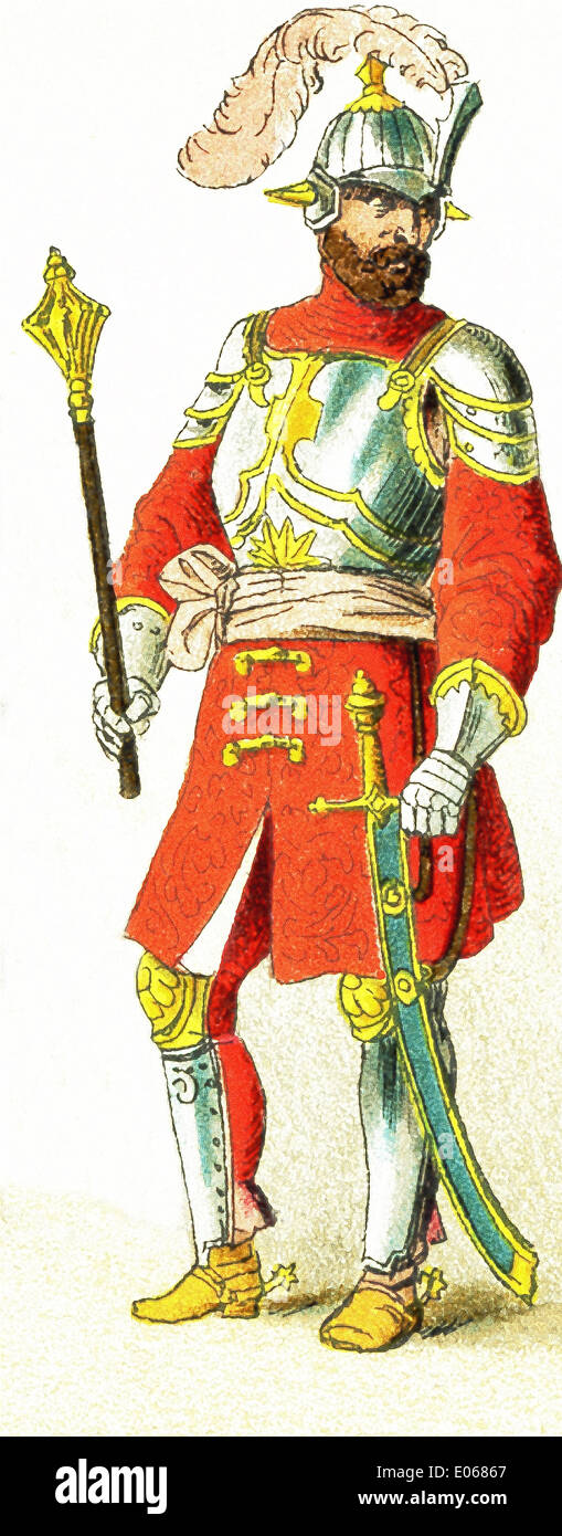 This Slavonic figure dates to 1500 and represents a Hungarian chief. Slavs lived chiefly in eastern and southeastern Europe. - Stock Image