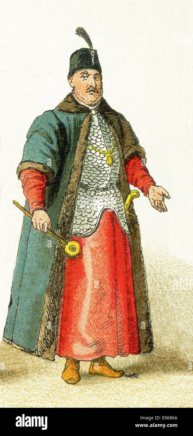 This Slavonic figure dates to 1500 and represents a Polish grandee. Slavs lived chiefly in eastern and southeastern Europe. - Stock Image