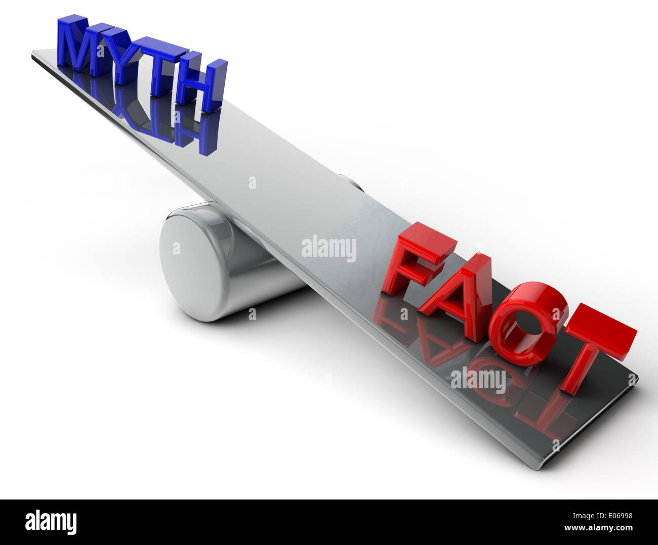 Myth and Fact on a balance over white Background - Stock Image