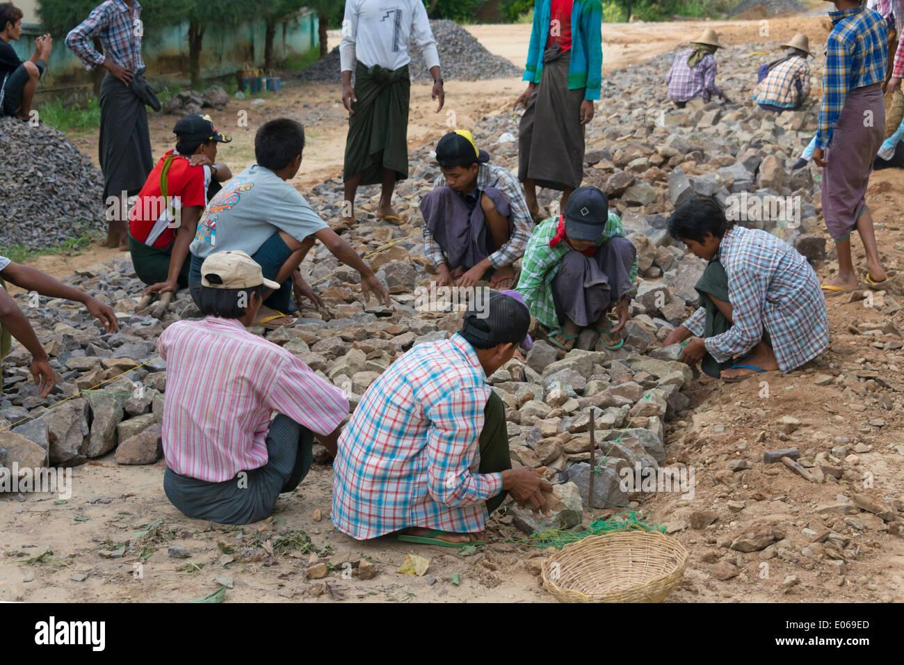Constructing road by hand, Bagan, Myanmar - Stock Image