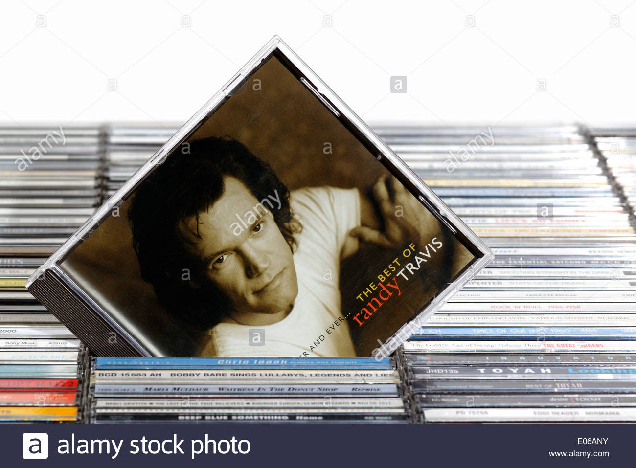 Randy Travis album Forever and Ever, piled music CD cases, England Stock Photo