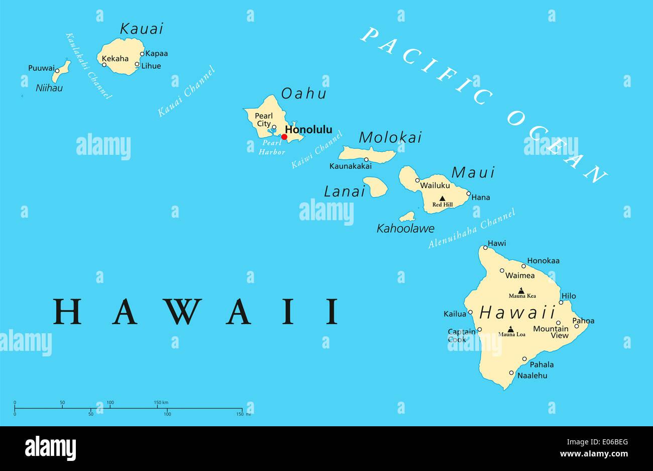 Hawaii Islands Political Map Stock Photo 68982216 Alamy