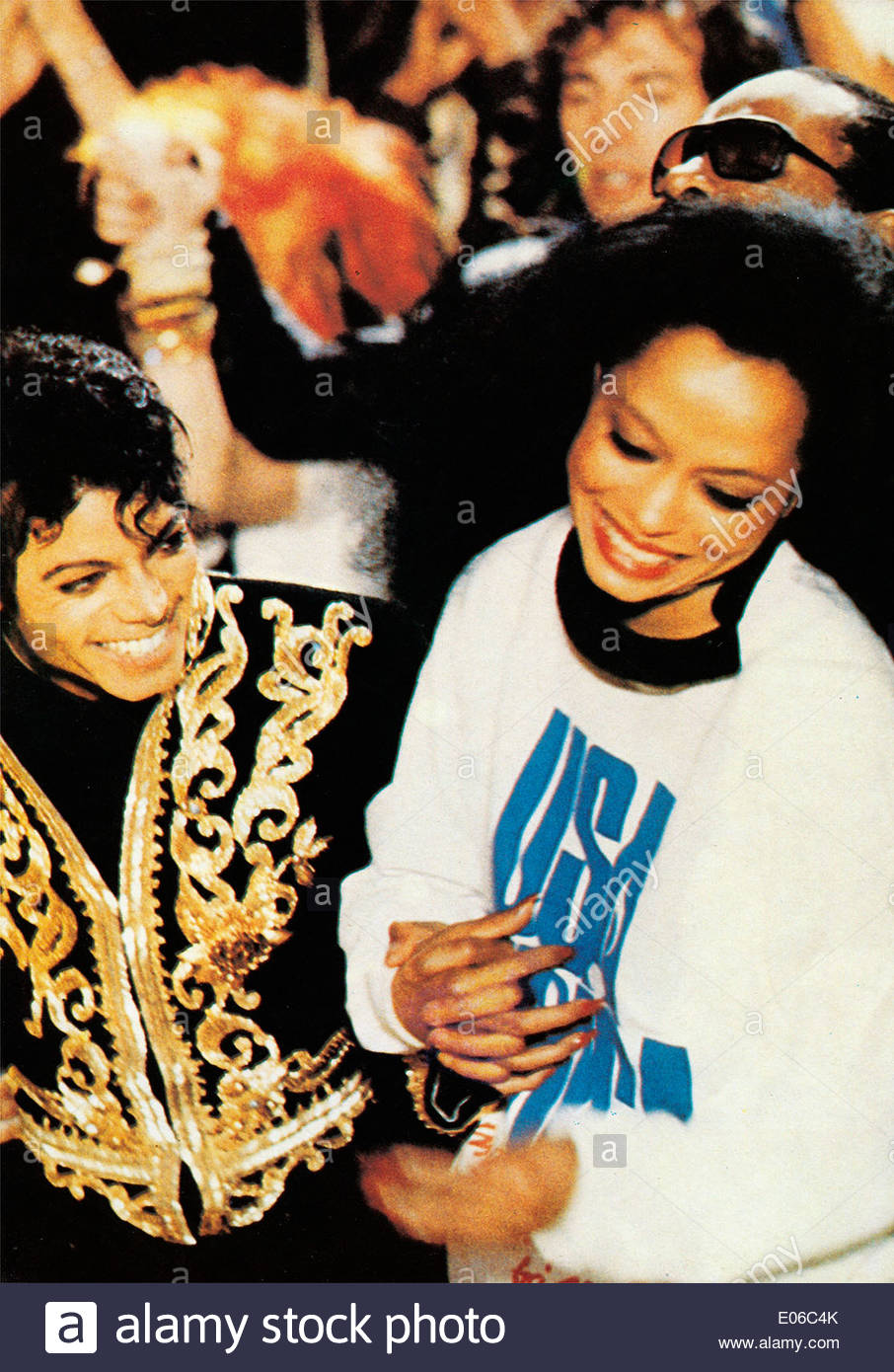 MICHAEL JACKSON & DIANA ROSS USA FOR AFRICA (1985) - Stock Image