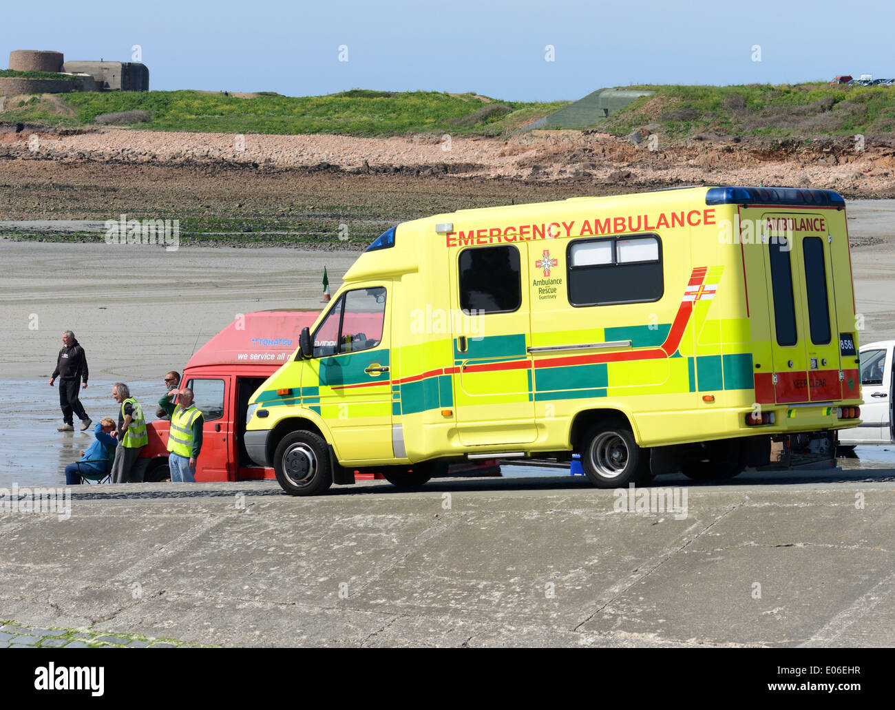 St. Johns ambulance on stand-by duty - Stock Image