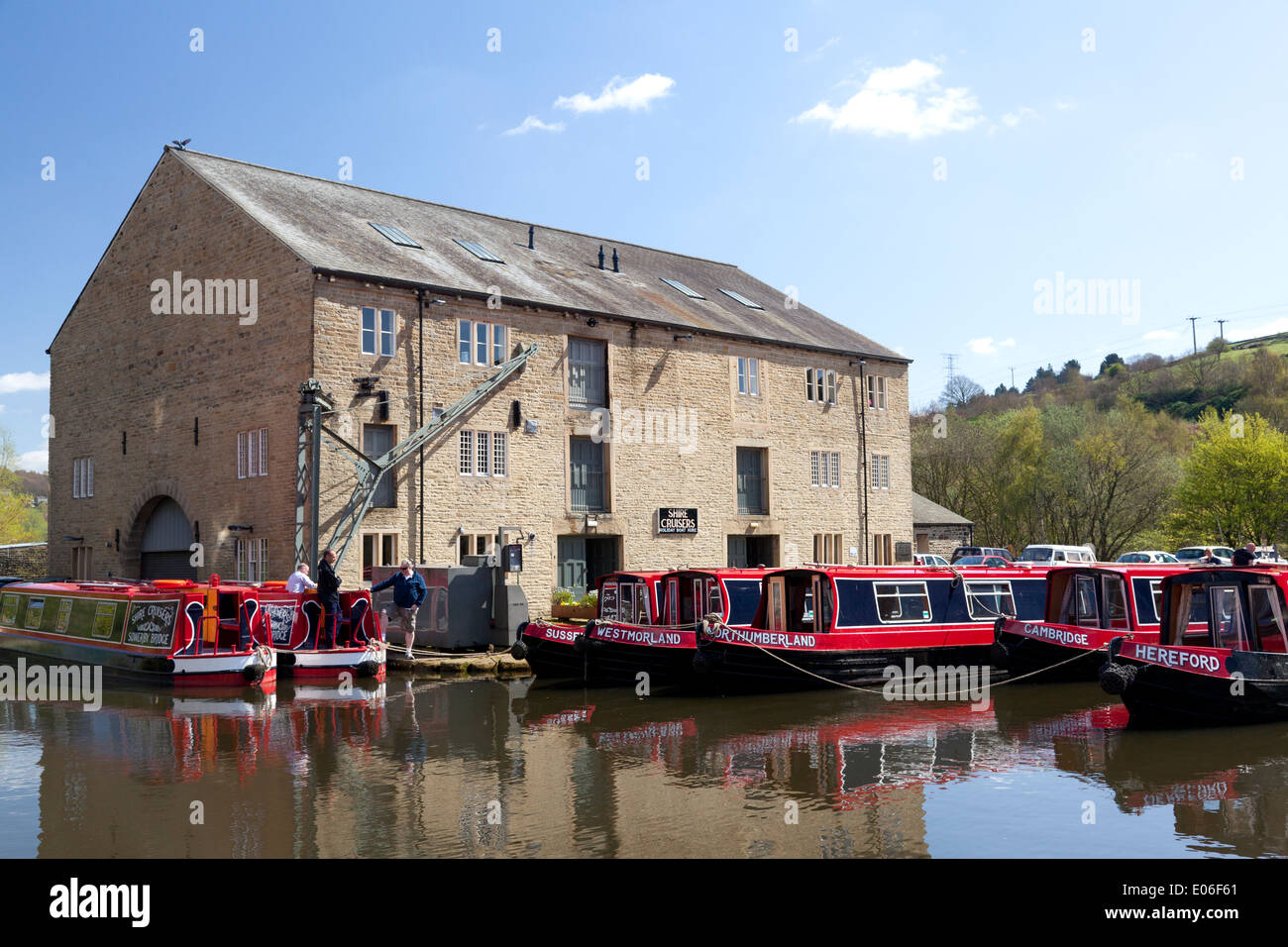 Boats from Shire Cruisers at their base at the Wharf, Sowerby Bridge, West Yorkshire - Stock Image