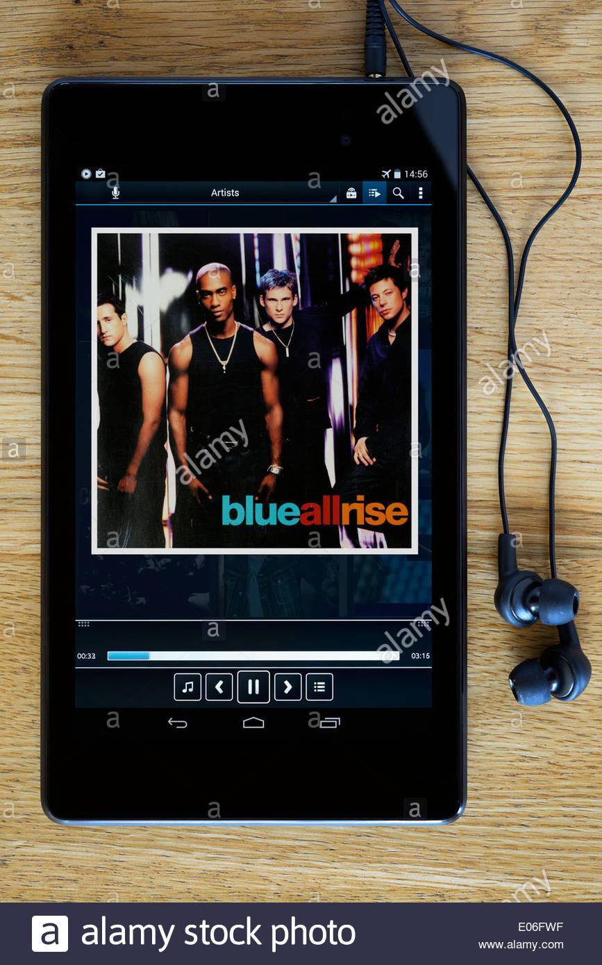Blue debut album All Rise, MP3 album art on PC tablet