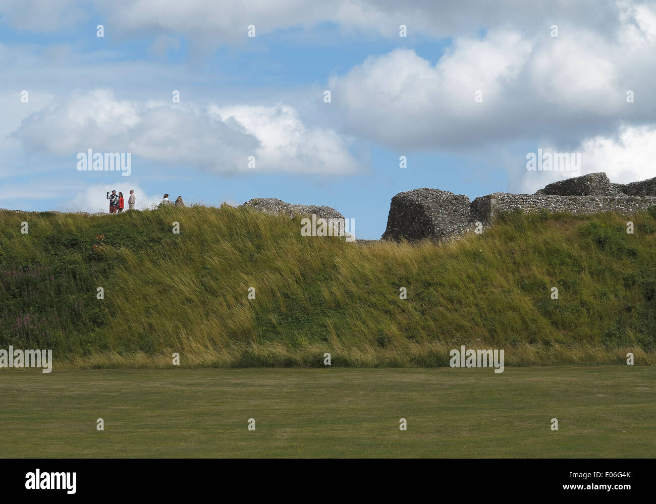 Old Sarum Wiltshire England UK a prehistoric site used by Romans, Saxons, and Normans. Stock Photo