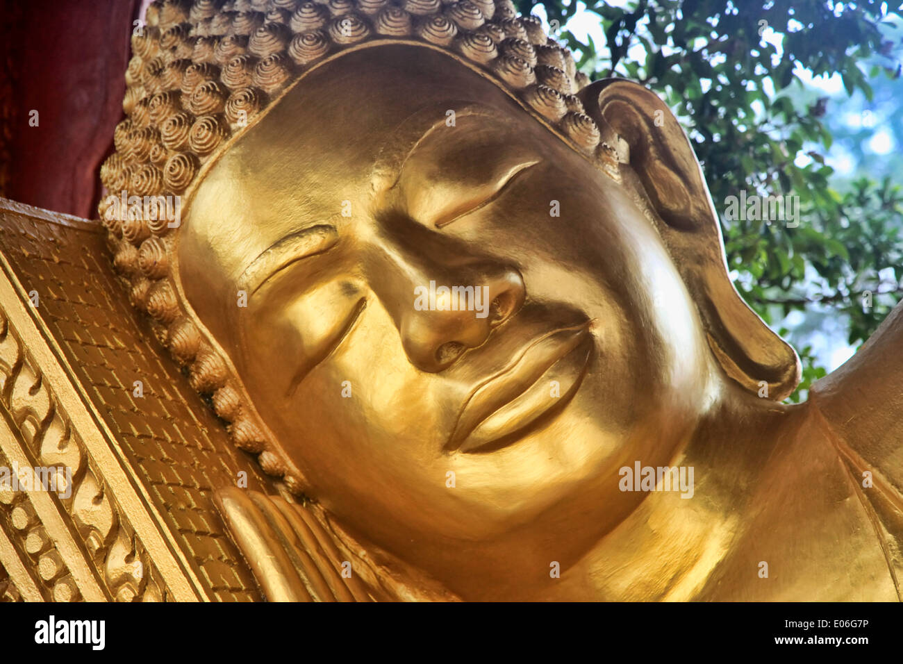 Reclining Buddha in temple Wat Krom. Sihanoukville. Cambodia - Stock Image