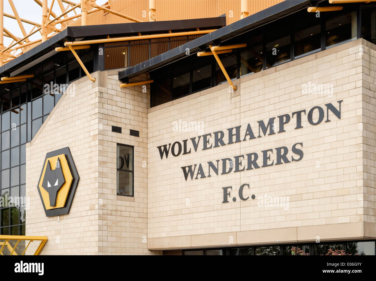 Sign at front entrance to Molineux stadium for Wolverhampton Wanderers football club ground. Wolverhampton West Stock Photo