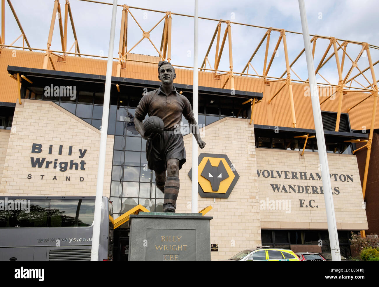 The Billy Wright statue outside stand and front entrance to Molineux stadium for Wolverhampton Wanderers football Stock Photo