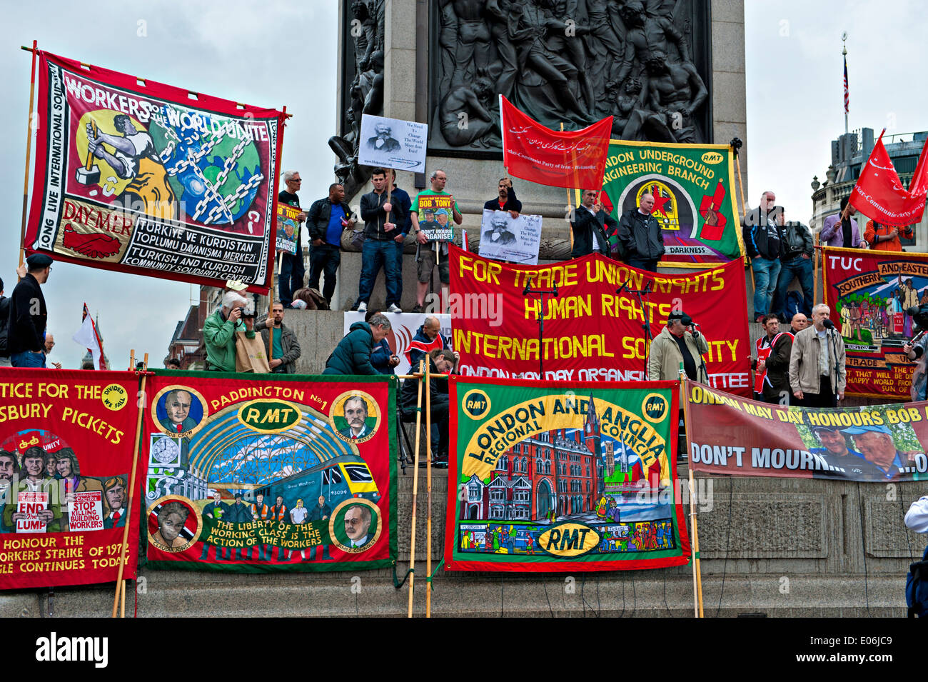Trade union banners seen at a Mayday Rally in London - Stock Image