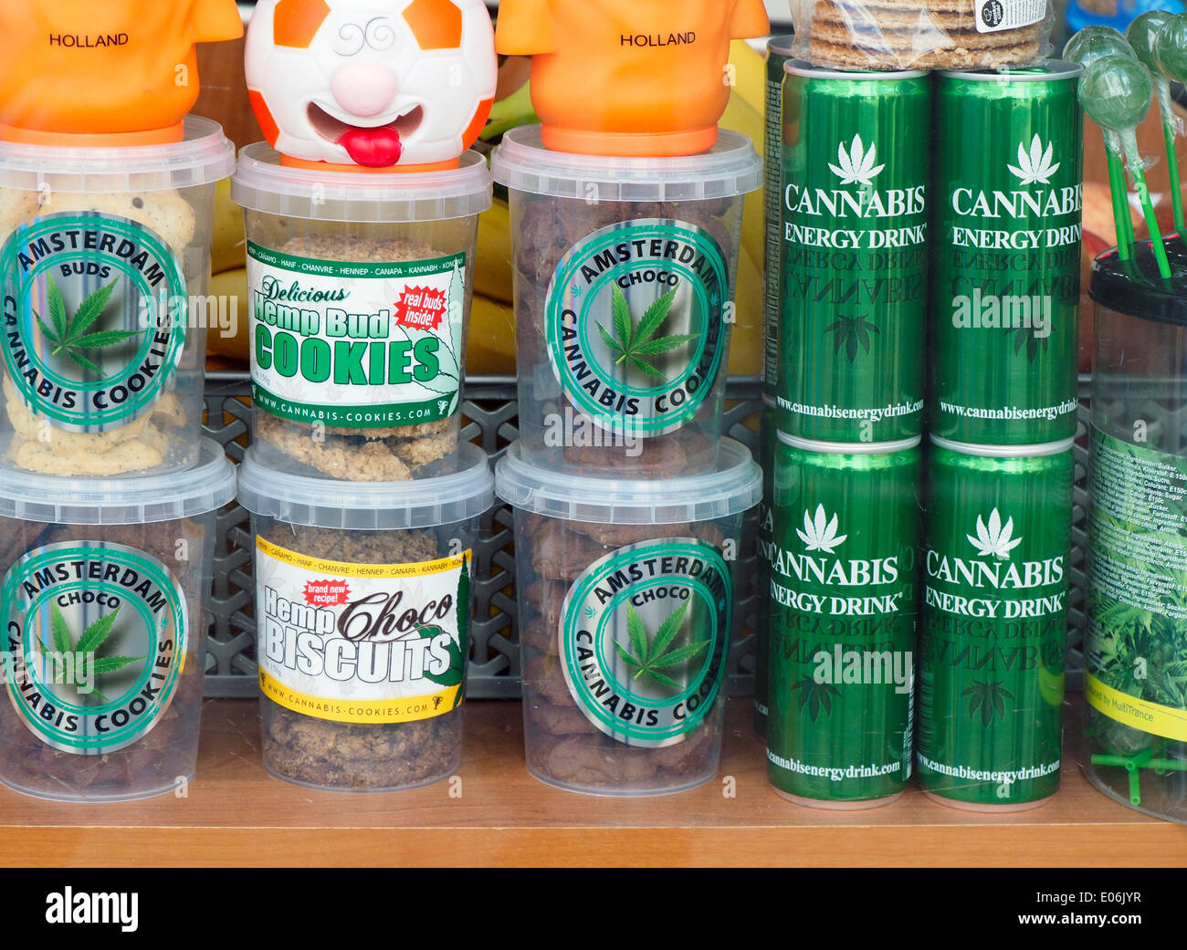 Cannabis Cookies Biscuits & Sodas in Amsterdam Store Window - Stock Image