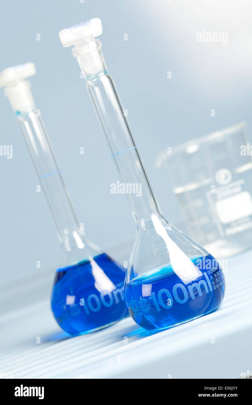 volumetric flask for chemical science use in laboratory stock photo