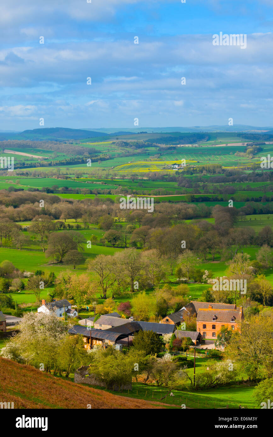 The village of Asterton in Spring from the Longmynd, Church Stretton, Shropshire, England. - Stock Image