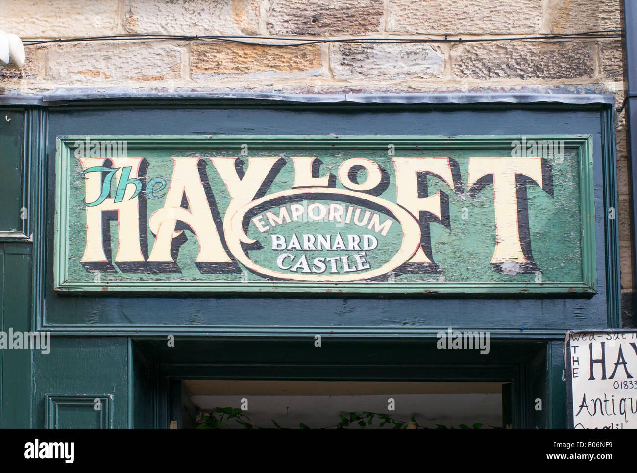 Hayloft Emporium Sign Over Antique Shop Door Barnard Castle North East  England UK