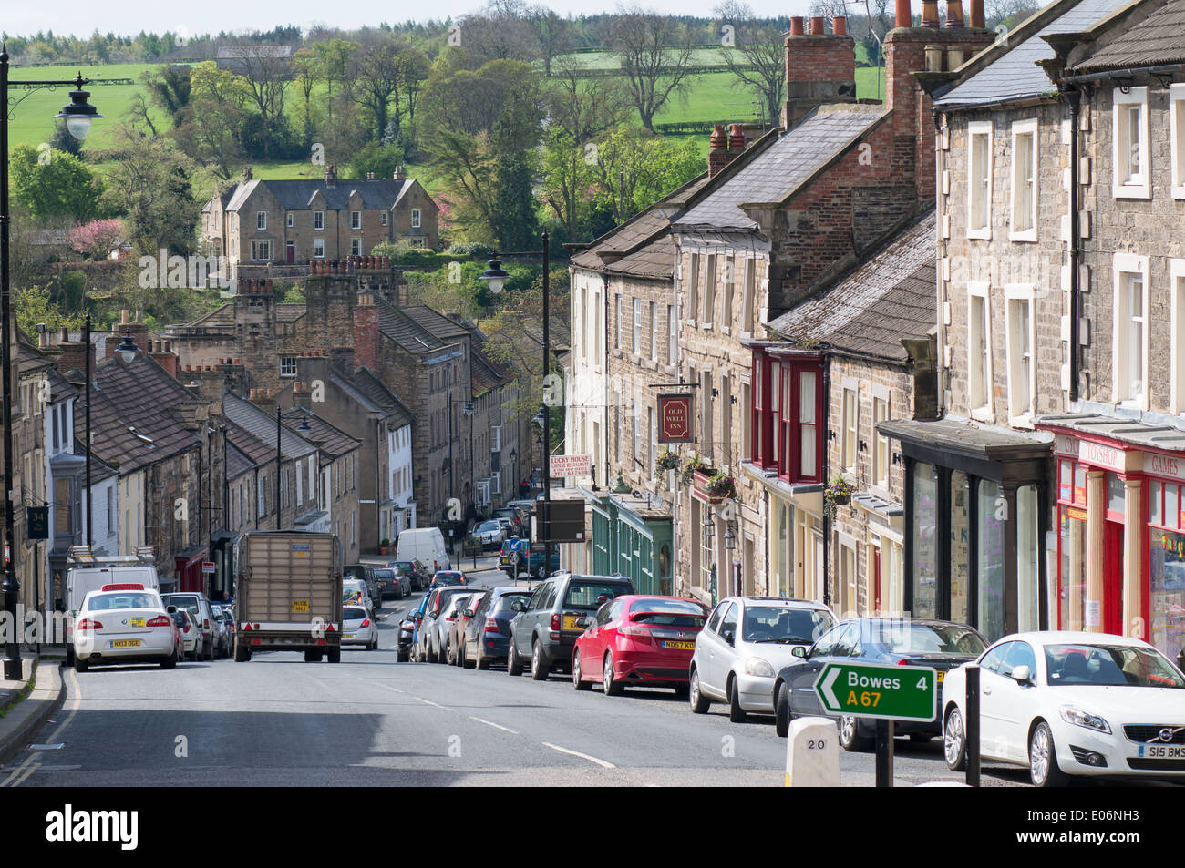 View down The Bank, Barnard Castle north east England UK - Stock Image
