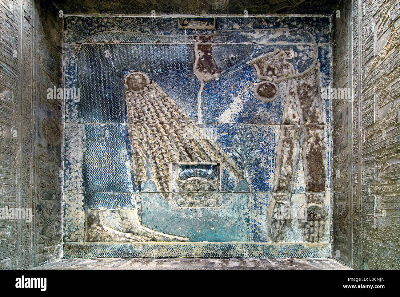 Egypt,Dendera,Ptolemaic temple of the goddess Hathor.View of ceiling with the goddess Nut. Stock Photo