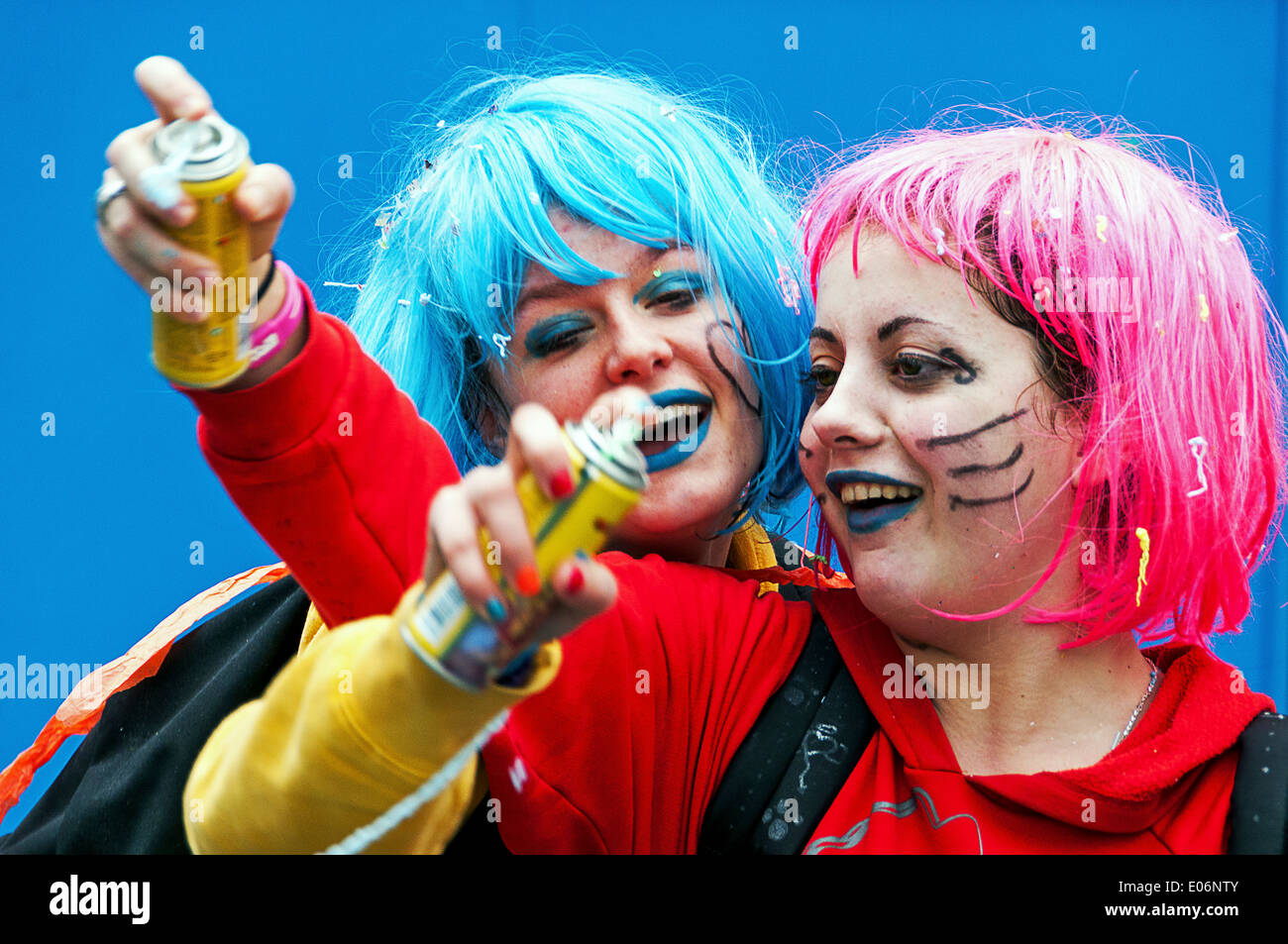 Europe, France, Alpes-Maritimes, Nice. Carnival. Two friends playing - Stock Image