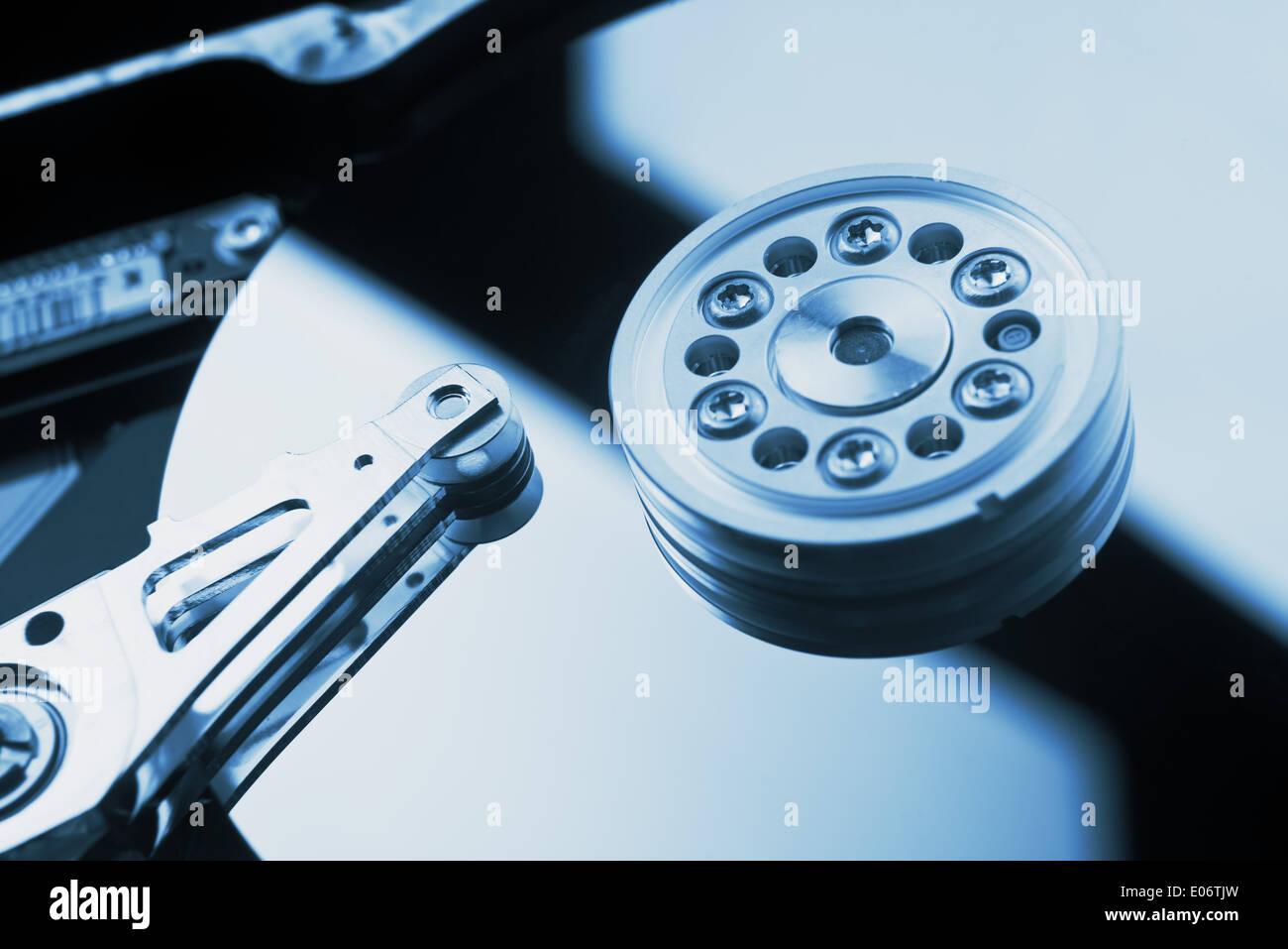 Computer hard disk close up. Computer Hardware. - Stock Image