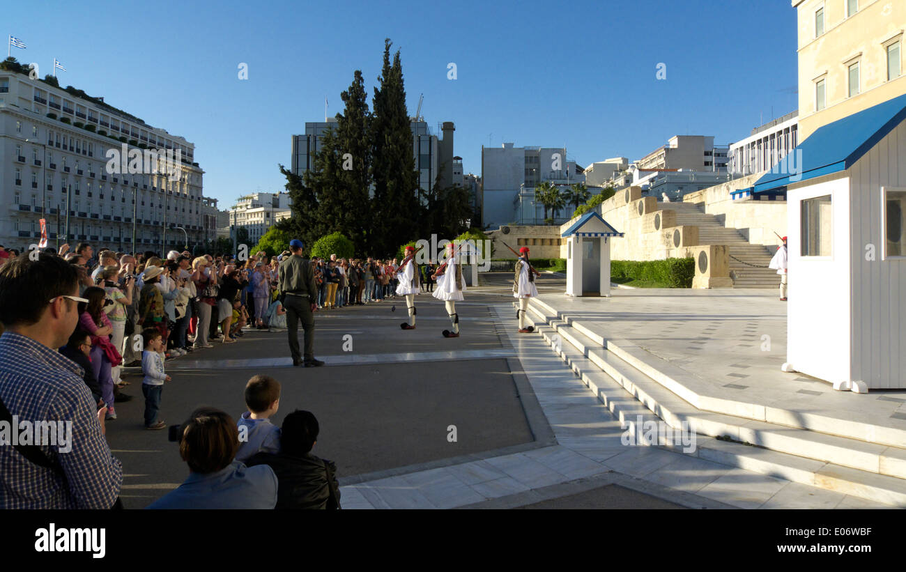 greece athens syntagma square evzones soldiers guarding the vouli Stock Photo