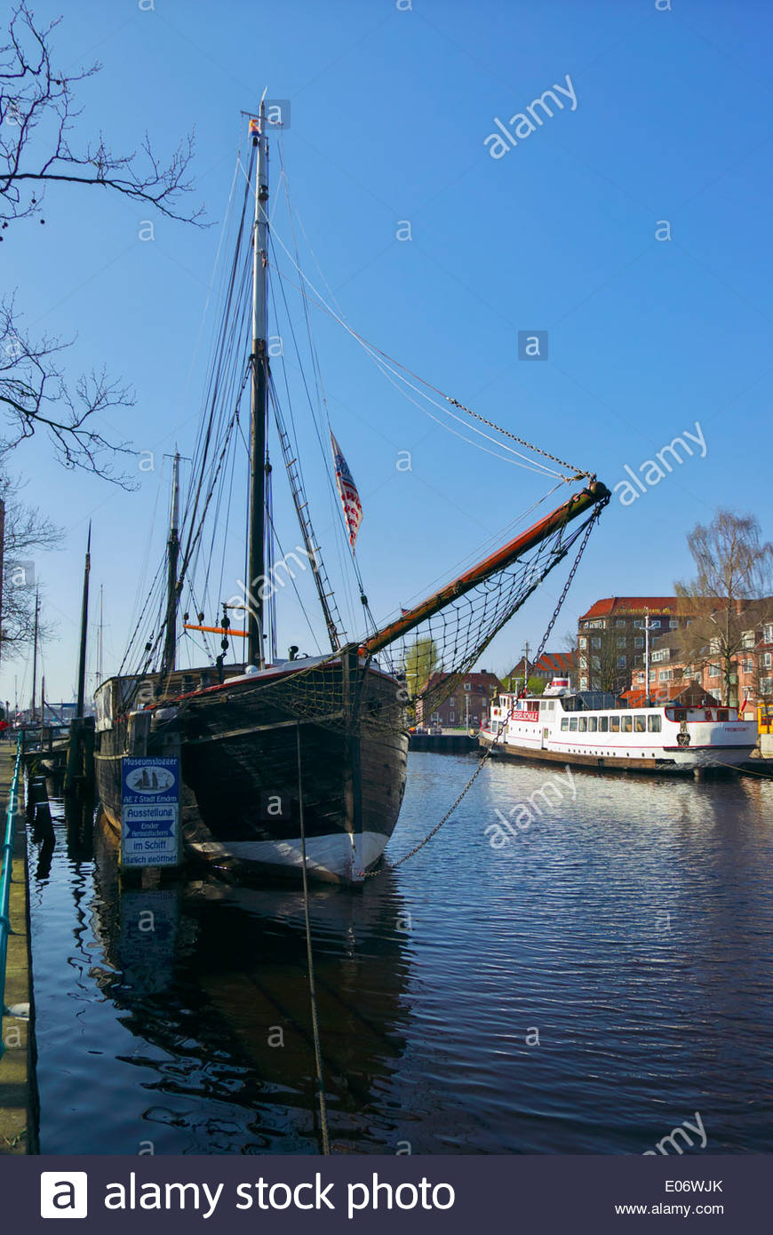 The Logger (lugger) AE-7 Emden, once a part of the city's active herring fishing fleet, is now a museum ship. - Stock Image