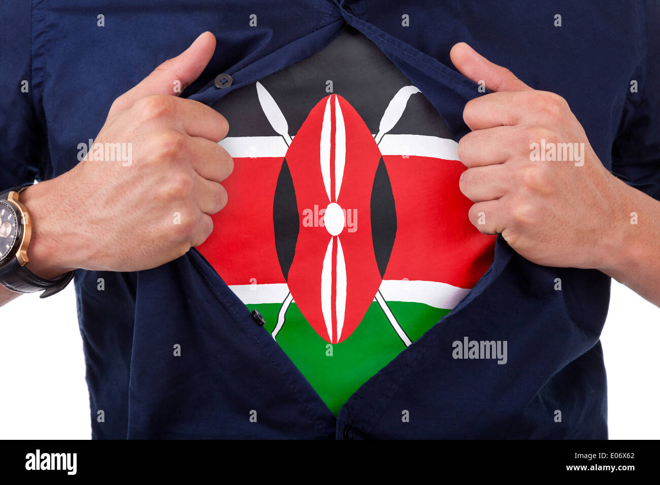 Young sport fan opening his shirt and showing the flag his country kenya, kenyan flag Stock Photo