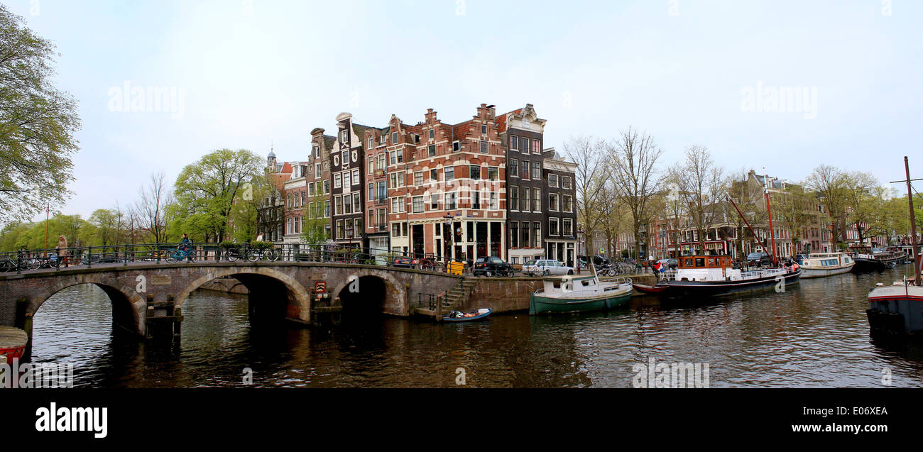 Panorama of  Prinsengracht and  Brouwersgracht canal in Amsterdam, The Netherlands - Stock Image