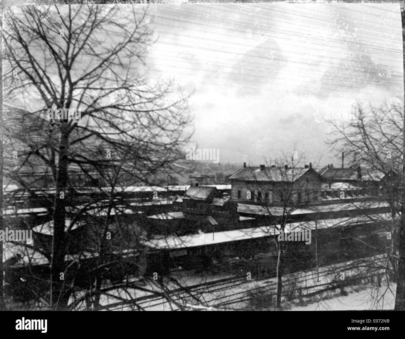 La gare et les voies, région d'Essen (Rhénanie-du-Nord-Westphalie) - Stock Image