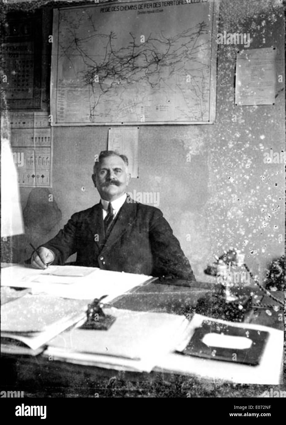 Bureau du chef de gare, Régie des chemins de fer, région d'Essen (Allemagne), décembre 1923 - Stock Image